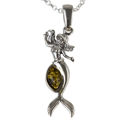 Sterling Silver and Baltic Amber Mermaid Pendant