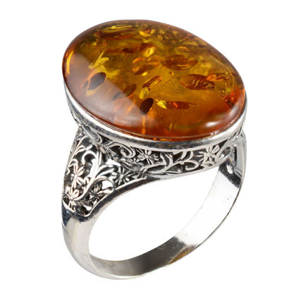 """Sterling Silver and Baltic Honey Amber Ring """"Lois"""""""