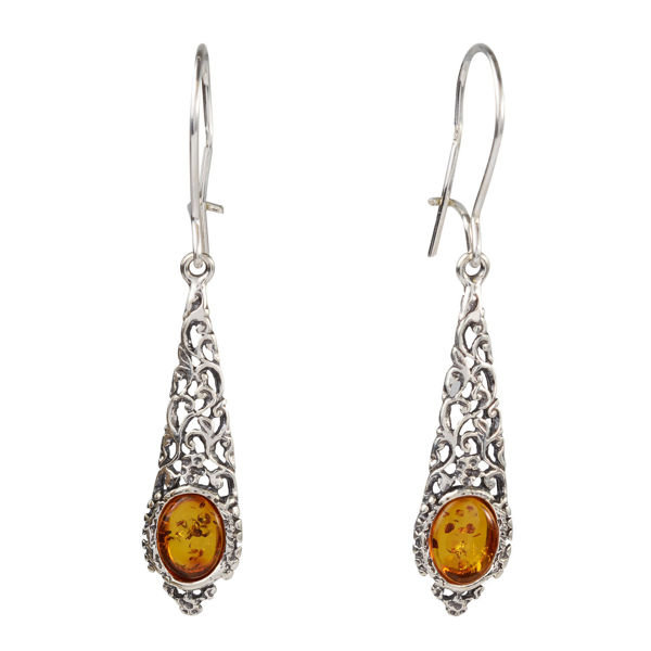 "Sterling Silver and Baltic Honey Amber Kidney Hook  Earrings ""Flora"""