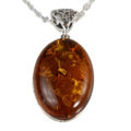 """Sterling Silver and Baltic Honey Oval Amber Pendant """"Lois"""""""