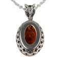"Sterling Silver and Baltic Honey Oval Amber Pendant ""Alaina"""