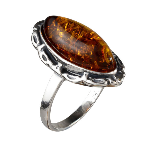 "Sterling Silver and Baltic Honey Amber Ring ""Devee"""