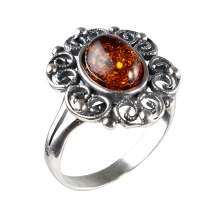 """Sterling Silver and Baltic Honey Amber Ring """"Gaelle"""""""