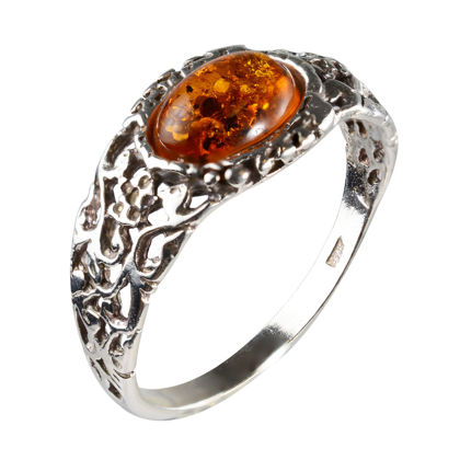 """Sterling Silver and Baltic Honey Amber Ring """"Flora"""""""