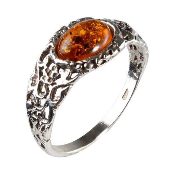 "Sterling Silver and Baltic Honey Amber Ring ""Flora"""