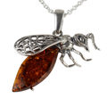 Sterling Silver and Baltic Honey Amber Wasp Pendant