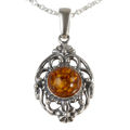 "Sterling Silver and Baltic Honey Amber Pendant ""Fiona"""