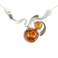"Sterling Silver and Baltic Honey Amber Necklace ""Alcie"""