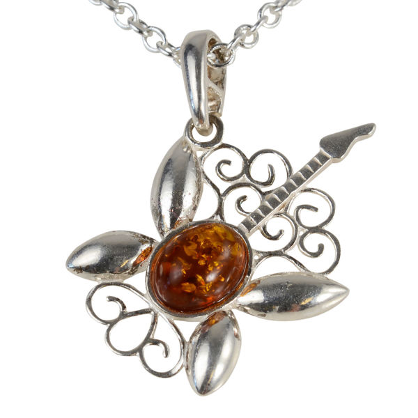 Sterling Silver and Baltic Honey Amber Guitar Pendant