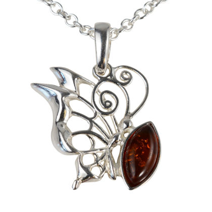 Sterling Silver and Baltic Honey Amber Resting Butterfly Pendant