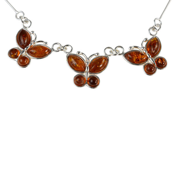 Sterling Silver and Baltic Honey Amber Butterflies Necklace