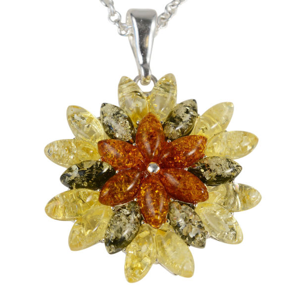 "Sterling Silver and Baltic Multicolored Amber Pendant ""Autumn"""