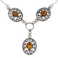 "Sterling Silver and Baltic Honey Amber Necklace ""Lenore"""