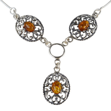"""Sterling Silver and Baltic Honey Amber Necklace """"Lenore"""""""