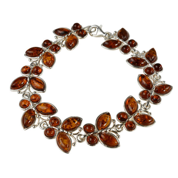 Sterling Silver and Baltic Honey Amber  Butterflies Bracelet