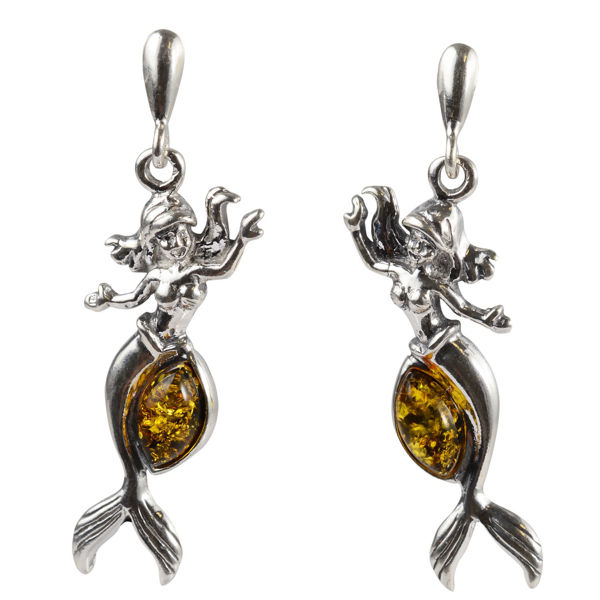 Sterling Silver and Baltic Green Amber Post Back Mermaid Earrings