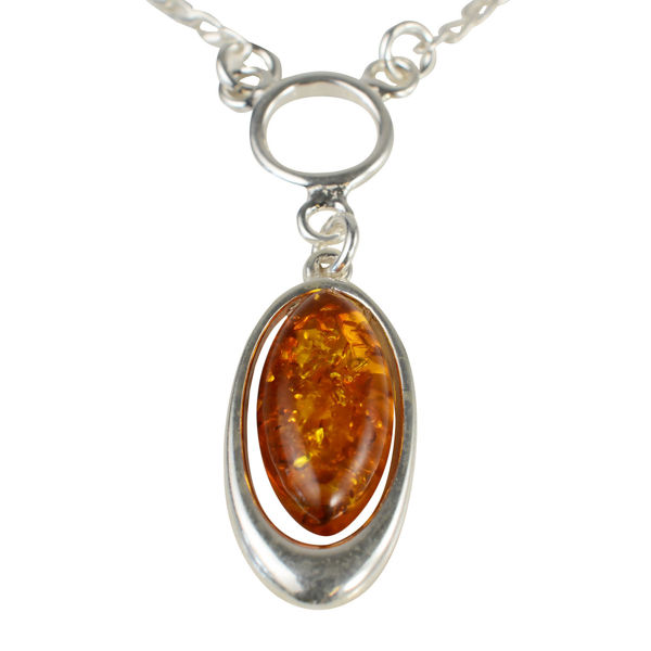 "Sterling Silver and Baltic Honey Amber Necklace ""Demi"""