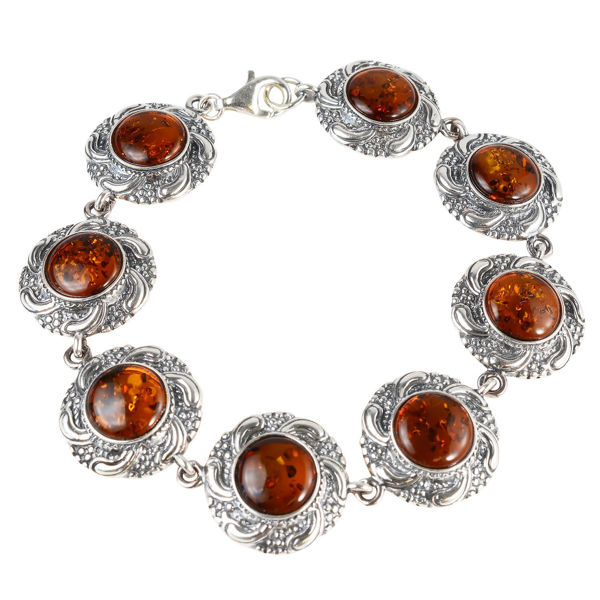 "Sterling Silver and Baltic Honey Amber Bracelet ""Inga"""