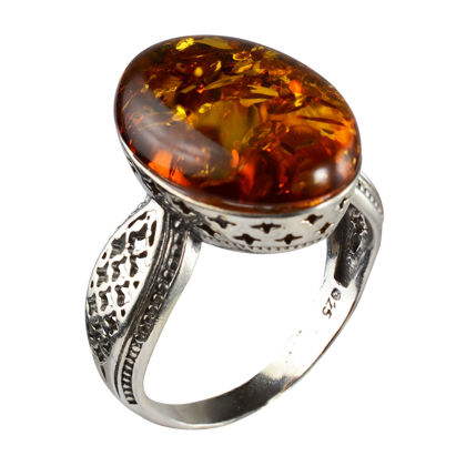 """Sterling Silver and Baltic Honey Amber Ring """"Alaina"""""""