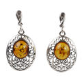 "Sterling Silver and Baltic Amber Post Back Honey  Earrings ""Giana"""