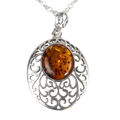 "Sterling Silver and Baltic Honey Oval Amber Pendant ""Giana"""