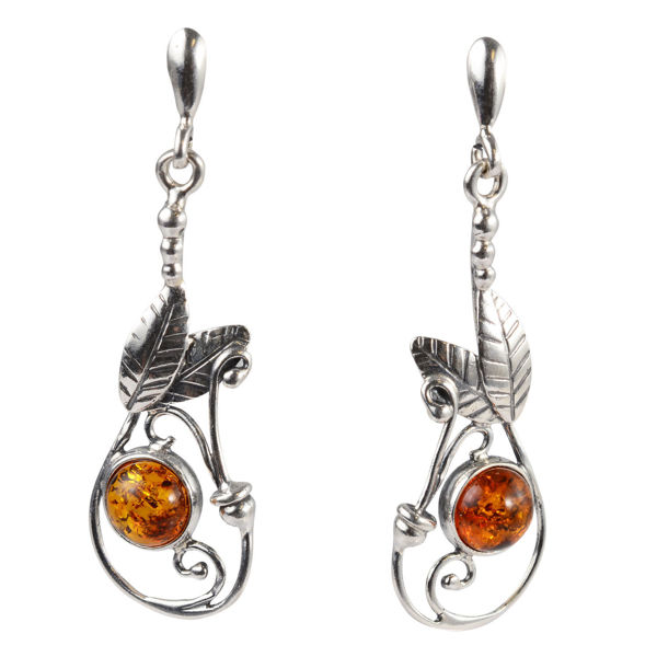 "Sterling Silver and Baltic Amber Post Back Honey Earrings ""Africk"""