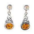 """Sterling Silver and Baltic Honey Amber Earrings """"Deirdre"""""""