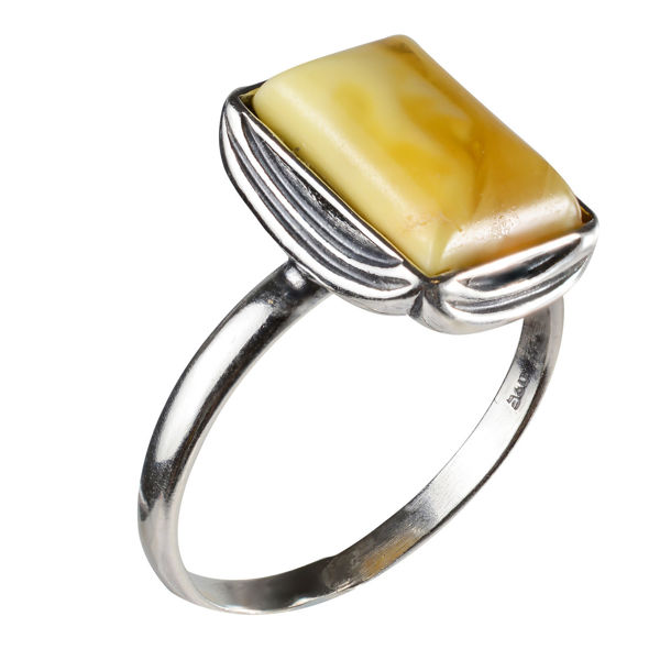 "Sterling Silver and Baltic Butterscotch Amber Ring ""Cora"""