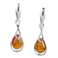 "Sterling Silver and Baltic Honey Amber Earrings ""Rose"""