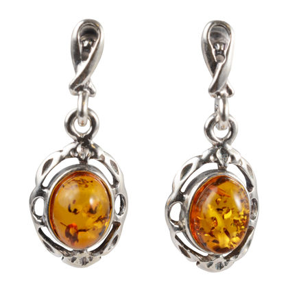 "Sterling Silver and Baltic Honey Amber Earrings ""Kathleen"""
