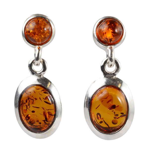 "Sterling Silver and Baltic Honey Amber Earrings ""Kendall"""