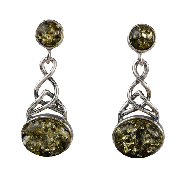"Sterling Silver and Baltic Green Amber Post Back Earrings ""Anneke"""