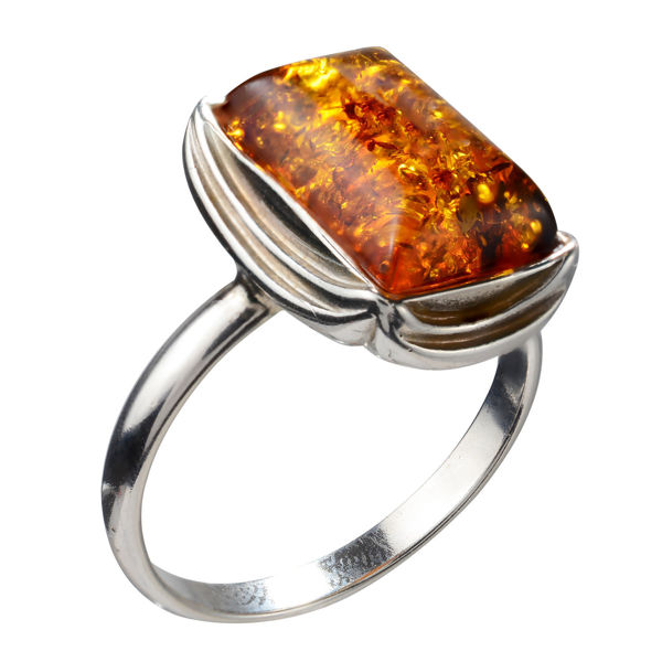 "Sterling Silver and Baltic Honey Amber Ring ""Cora"""