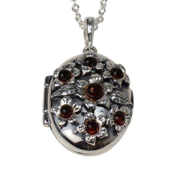 Sterling Silver and Baltic Honey Amber Floral Locket Pendant Necklace