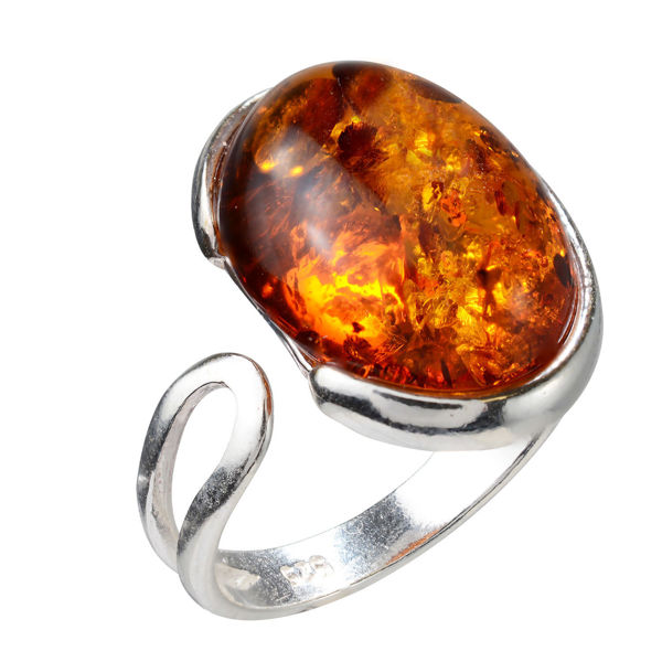 Sterling Silver and Baltic Honey Amber Oval Adjustable Ring
