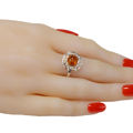 "Sterling Silver and Baltic Amber Ring ""Makalya"""