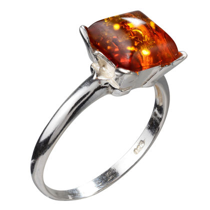 """Sterling Silver and Baltic Honey Amber Square Ring """"Nelda"""""""
