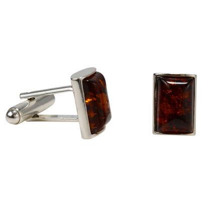 Sterling Silver Baltic Honey Amber Cufflinks