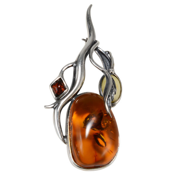"Sterling Silver and Baltic Amber Brooch ""Coreene"""