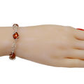 "Sterling Silver and Baltic Honey Amber Bracelet "" Airya"""