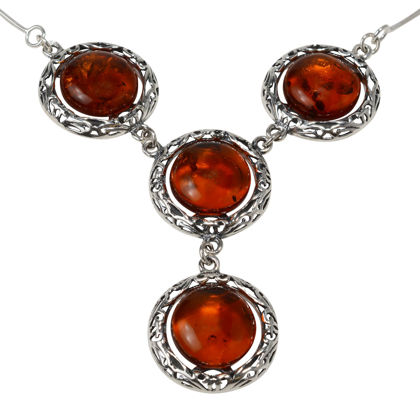 """Sterling Silver and Baltic Honey Amber Necklace """"Isadora"""""""