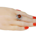"Sterling Silver and Baltic Honey Amber Round Ring ""Inga"""