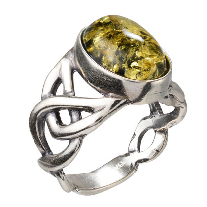 Sterling Silver and Baltic Large Celtic Knots  Green Amber Ring; size 8