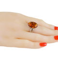 "Sterling Silver and Baltic Honey Amber Ring ""Alaina"""