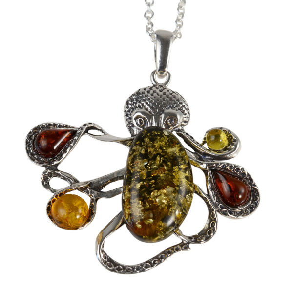 Sterling Silver and Baltic Multicolored Amber Octopus Pendant