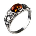 "Sterling Silver and Baltic Honey Amber Ring ""Dorota"""