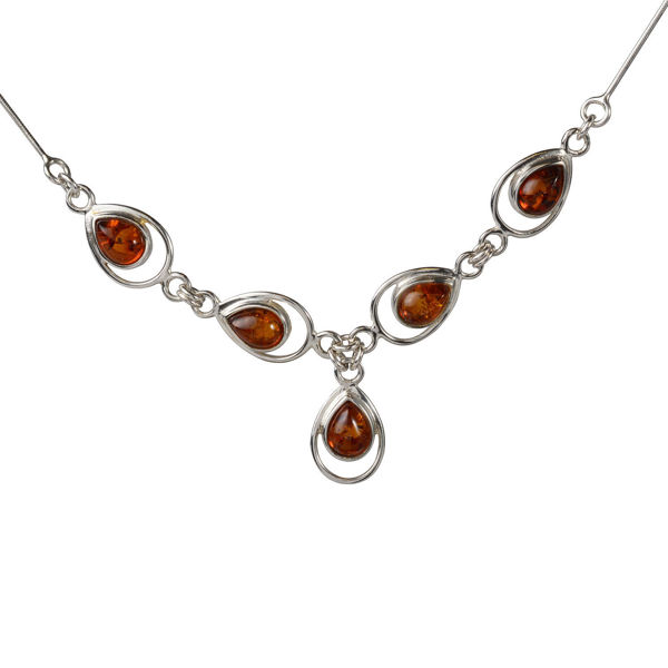 """Sterling Silver and Baltic Honey Amber Necklace """"Lina"""""""