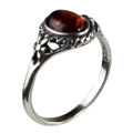 "Sterling Silver and Baltic Honey Amber Ring ""Mirela"""