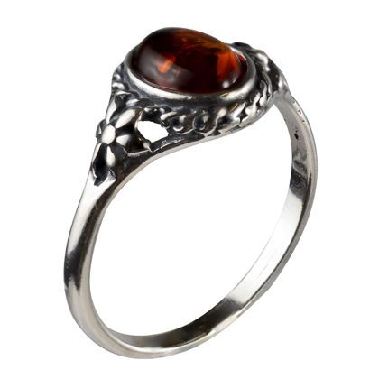 "Sterling Silver and Baltic Honey Amber Ring ""Mirela"""