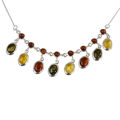 "Sterling Silver and Baltic Multicolored Amber Necklace ""Lolanda"""